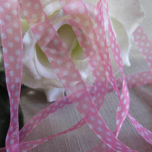 3m SHEER ORGANZA POLKA DOT SPOTTY 10mm RIBBON CHOICE OF COLOURS