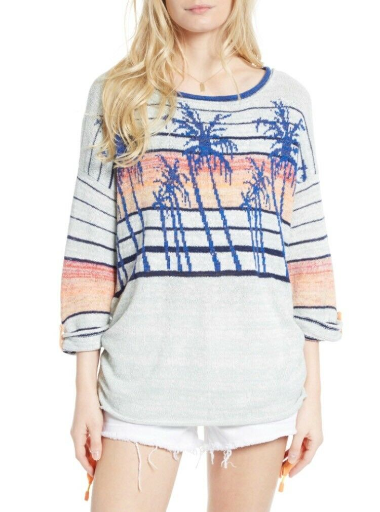 Free People Palm Tree Breeze Knit Ruched Sweater OB570235 Größe Small Retail