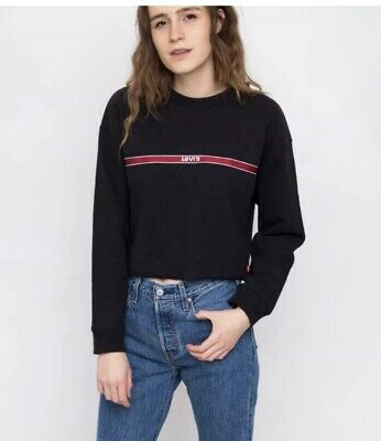 Levi/'s  Women/'s Relaxed Graphics Raw Cut Hem White cropped Sweatshirt