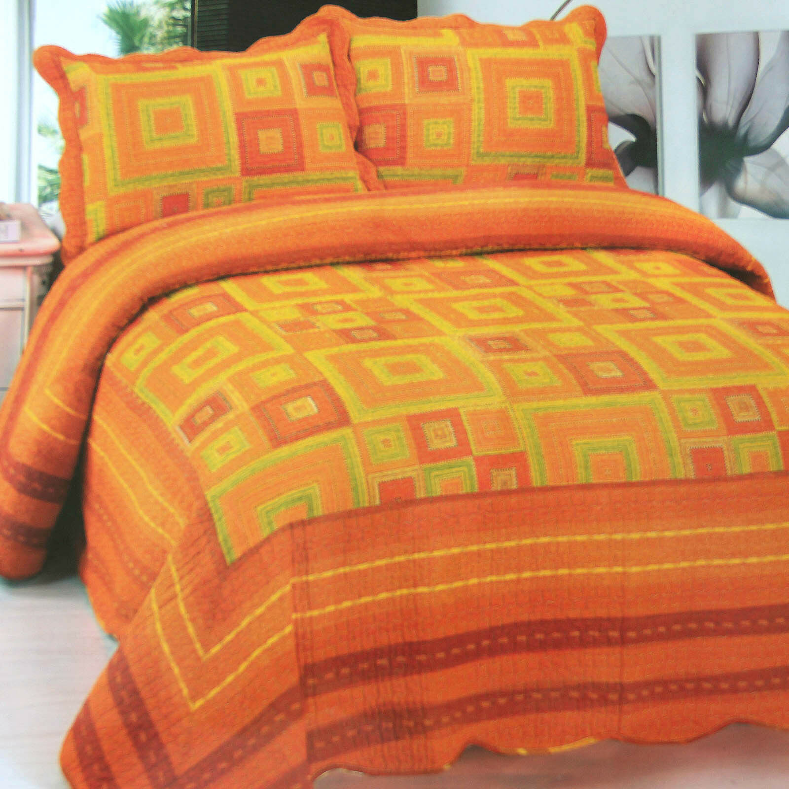 Cotton Quilted Bedspread 3PCS Set in Rich Orange Farbe Tones Queen Größe