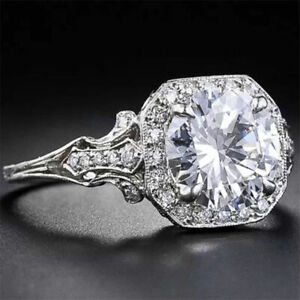 Vintage-2-6CT-Topaz-6-10-Men-Silver-Wedding-Engagement-White-Size-925-Ring-Women
