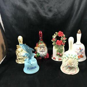 Lot of 6 Decorative Collectors Hand Bells D