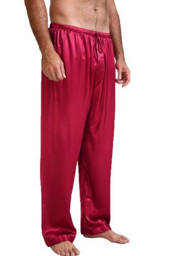 Mens Nightwear Sleepwear Bath Pajamas Satin Silk Long Lounge Pants Pyjamas NEW