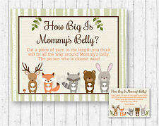 Woodland Forest Animals How Big Is Mommys Belly Baby Shower Game