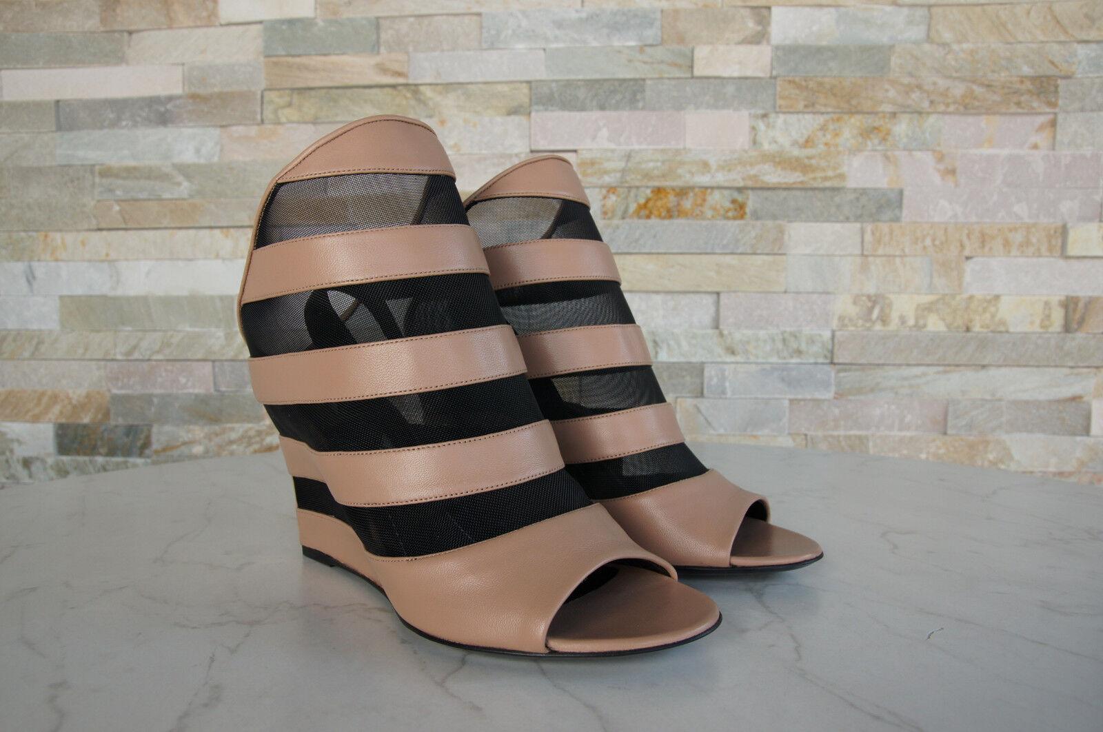 0a25fd70a81332 ... luxus Netz BALENCIAGA Gr 37 Keil Netz luxus Sandaletten Schuhe braun  neu dd2109 ...