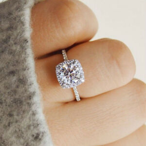 Silver-Color-Wedding-Band-Engagement-Ring-Halo-Cushion-Cut-White-Cubic-Zirconia