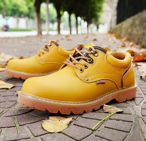 Men/'s Leather Shoes Round Toe Lace Up Outdoors Desert Work Boots Oxford Shoes
