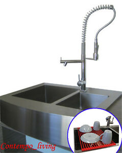 36 Stainless Steel Farm Apron Kitchen Sink 16 Gauge Double Bowl 639302273531 Ebay