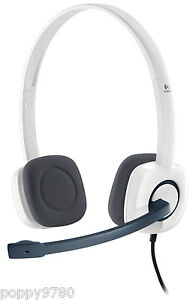 logitech h150 stereo headset cloud w microphone white computer skype 981 000350 5099206028586. Black Bedroom Furniture Sets. Home Design Ideas