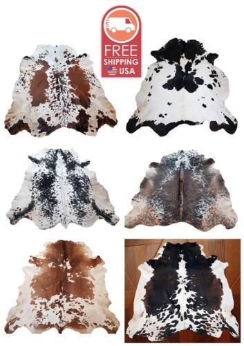 NEW LARGE 100/% COWHIDE LEATHER RUGS TRICOLOR COW HIDE SKIN CARPET AREA 18-35SQFT