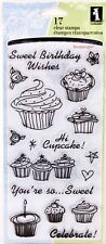 Clear Stamps Acrylic Cupcakes Celebrate Happy Birthday Sentiments Set 17pcs pack