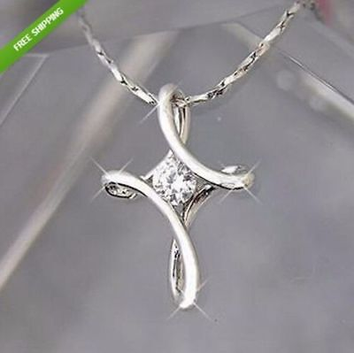 Details about  /925 Silver Infinity Cross with Crystal Necklace Pendant ~ UK SELLER ~