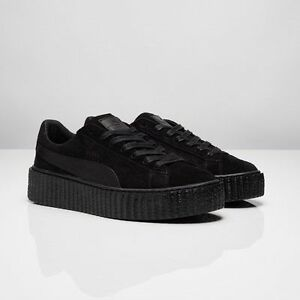 low priced 51b4b b0efe Details about Puma X Rihanna Fenty Suede Creepers Satin Triple Black All  362268 01 Women & Men