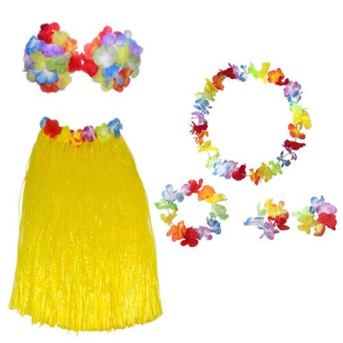 LADIES HAWAIIAN HULA SKIRT HEADBAND WRISTBANDS LEI BRA FANCY DRESS COSTUME