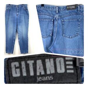 Vtg-Gitano-Jeans-Women-s-18-P-High-Waist-Relaxed-Fit-Tapered-Leg-Blue-Denim-Mom