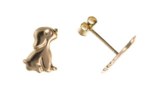 Image Is Loading Yellow Gold Puppy Earrings Dog Studs Doggy Stud