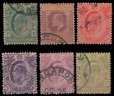 STRAITS SETTLEMENT 1903, 6 Different King Edward, Used