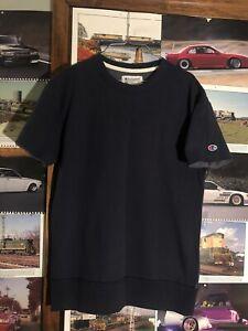 Champion-Embroidered-034-C-034-Logo-Navy-Blue-Short-Sleeve-Crew-Neck-Sweatshirt-Small