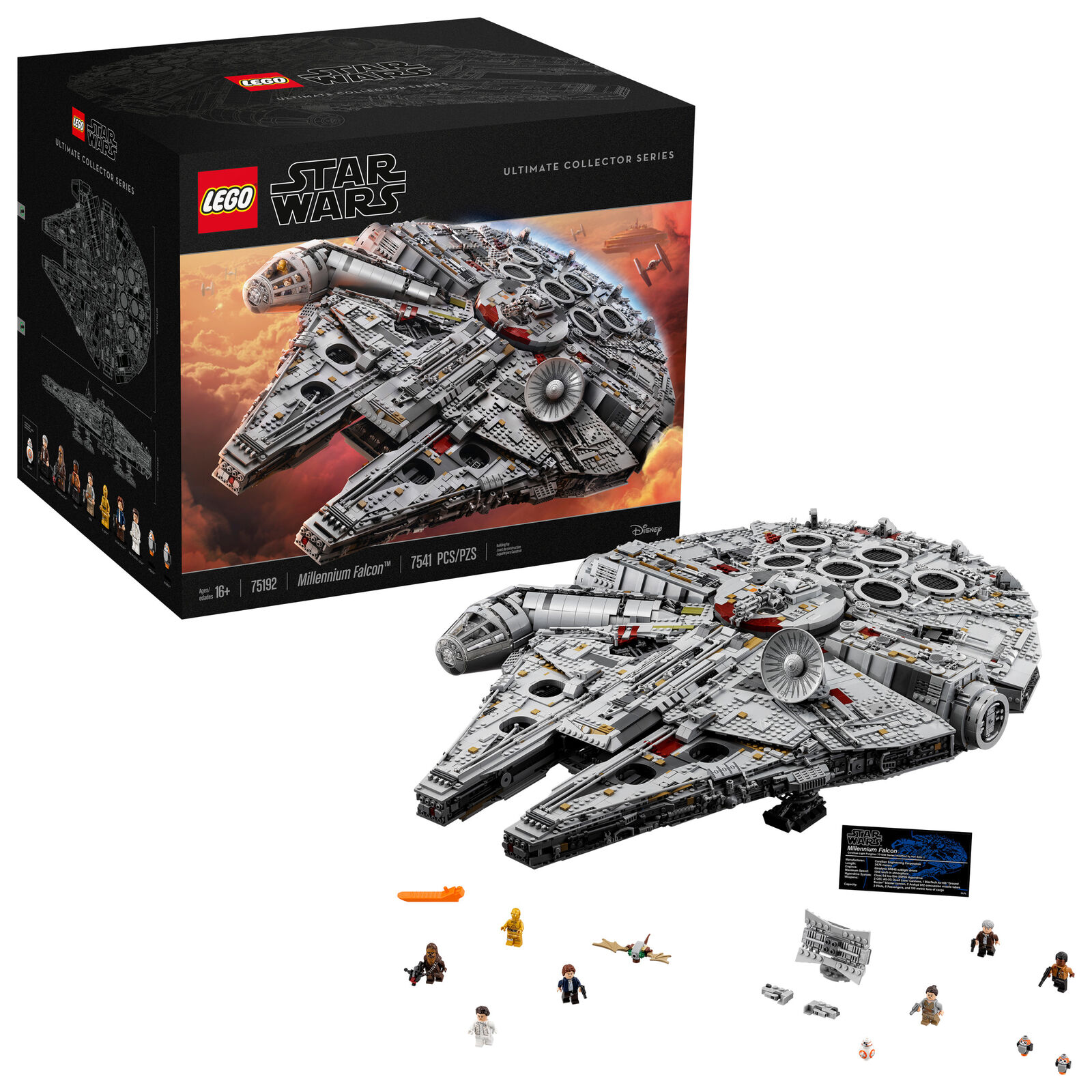 LEGO Star Wars Millennium Falcon Building Set Incrossoible Detail 7500 Pieces Nuovo