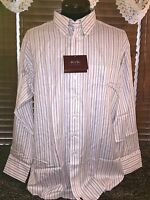Men's Rtk Xl 17.5/35 White/burgundy/green Stripe Single Pocket Dress Shirt
