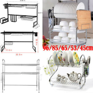 2 Or 3 Tier Dish Drying Rack Stainless Steel Drainer Kitchen Storage Space Saver