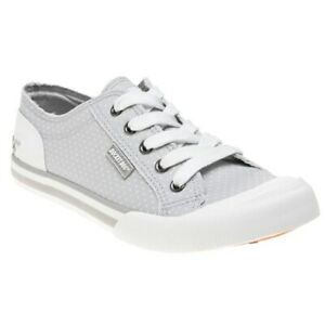New-Womens-Rocket-Dog-Grey-Jazzin-Adot-Cotton-Trainers-Canvas-Lace-Up