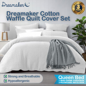 Dreamaker Cotton Waffle Pillowcase Duvet Doona Quilt Cover Set Queen Bed White
