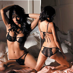 Sleepwear-Sexy-Lady-Lace-Lingerie-Underwear-Bra-G-String-Nightwear-Babydoll-Gift