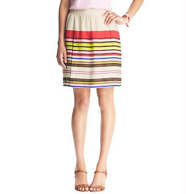 Ann Taylor LOFT Aloha Stripe Full Skirt Size 6 Petite 6 Regular NWT Capri Cream