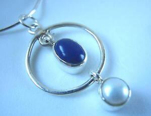 Lapis-Lazuli-amp-Pearl-925-Sterling-Silver-Pendant-India