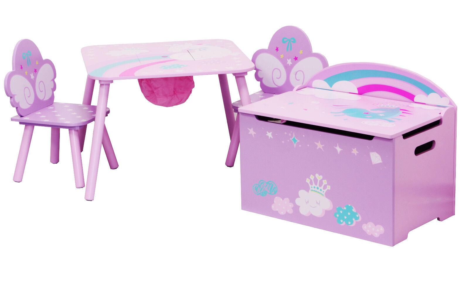 Table et chaises avec chestbench-licorne-en bois set enfants toybox