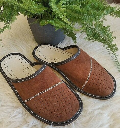 7.5,8,9,10,11,12 Men/'s Slippers Sandals Shoes Leather Suede Slip On Size 7