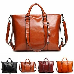 Damen-Leder-Handtasche-Schultertasche-Umhaengetasche-Retro-Crossbody-Tote-Satchel