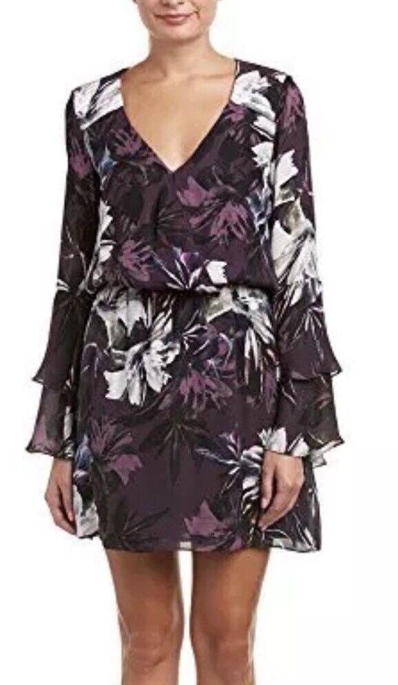 Parker Womens Exotic Floral Purple Pat Silk A-Line Dress Size Large 1174