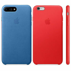 wholesale dealer 9f9be d6d40 Details about 100% Genuine Official Apple iPhone 7 Plus Leather Cover Case  - Sea Blue / Red
