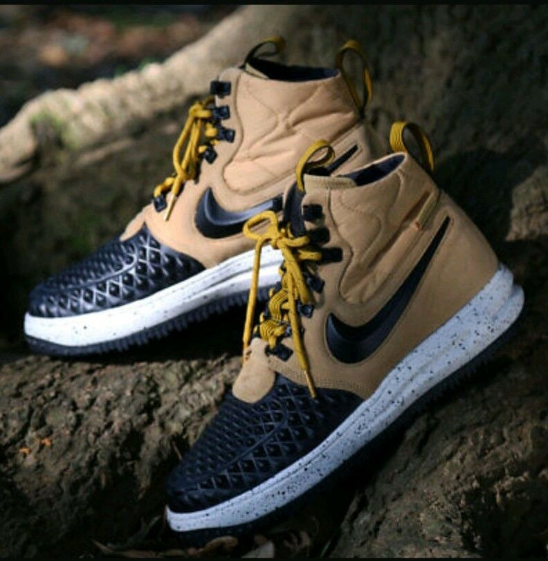8 MEN'S Nike Lunar Force 1 Duckboot '17 AF1 gold Black Bone 916682 701 Casual