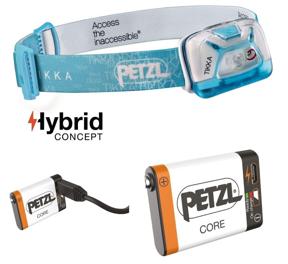 Petzl TIKKA Blau inkl. CORE Ersatzakku für HYBRID-Lampen - max. max. max. 200 Lumen ed8371