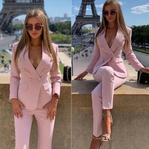 Jacket+Pants Pink Women Business Party Suits Blazer Ladies Formal Trouser Suits