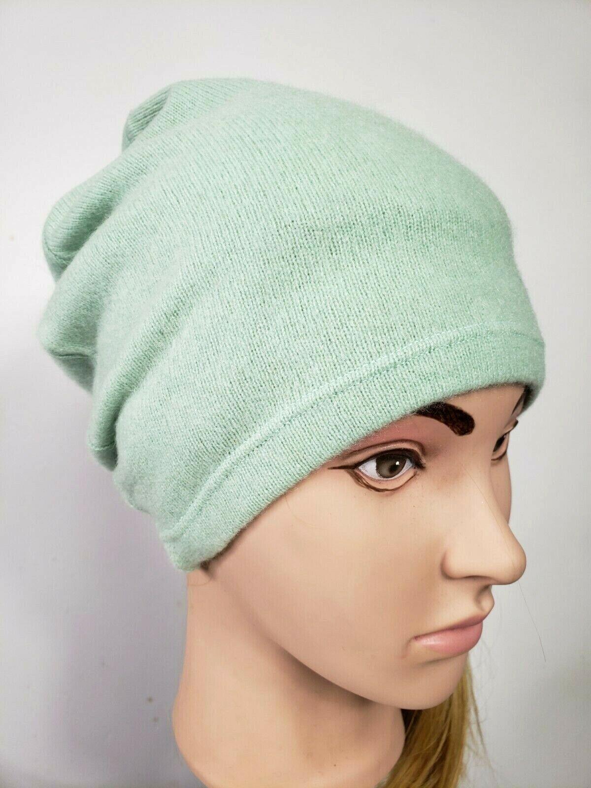 # 100% Pure Cashmere Sombrero Gorro de lana hecho a mano unisex para hombre mujer Menta Azul 320