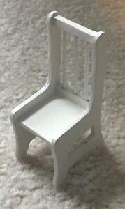 Vintage-Dollhouse-Miniature-Chair-Buff-White-Wood-Mini-Doll-House-1-12