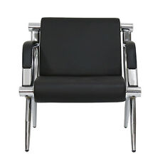 1 Seat Guest Chair Waiting Room Airport Reception Barber Bench Black Pu Leather