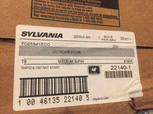 Box of 30-SYLVANIA fluorescent  bulbs FO25//841//ECO T8