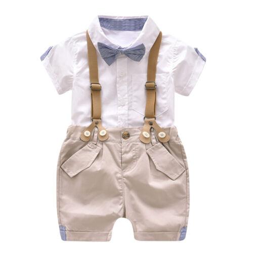 Toddler Boys Summer Gentleman Bowtie Short Sleeve Shirt+Suspenders Shorts Set US