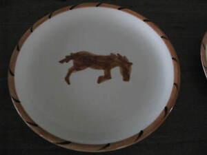 Set-of-3-Gaetano-California-Pottery-Salad-Plates-COWBOY-Pattern