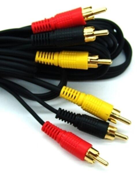 AV Audio Video Triple RCA Phono Lead / Cable, 3 x Phono Plugs, 20M