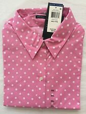 NWT Women's Polo Ralph Lauren Long Sleeves Polka Dot Dress Shirt Pink/White-XXL