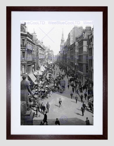 CHEAPSIDE LONDON VINTAGE HISTORY OLD BW BLACK FRAMED ART PRINT PICTURE B12X2398