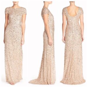 ae0d6711 NEW Adrianna Papell Short Sleeve Sequin Mesh Gown Champagne-Gold [6 ...