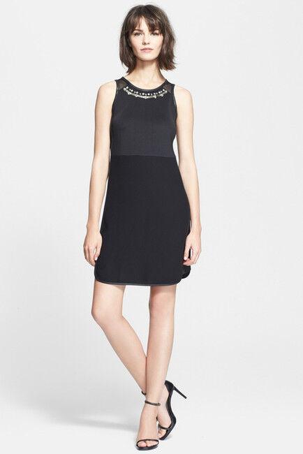 NWT  Rebecca Taylor Modern Deco Embellished Mesh Back Mod Dress [SZ 2]