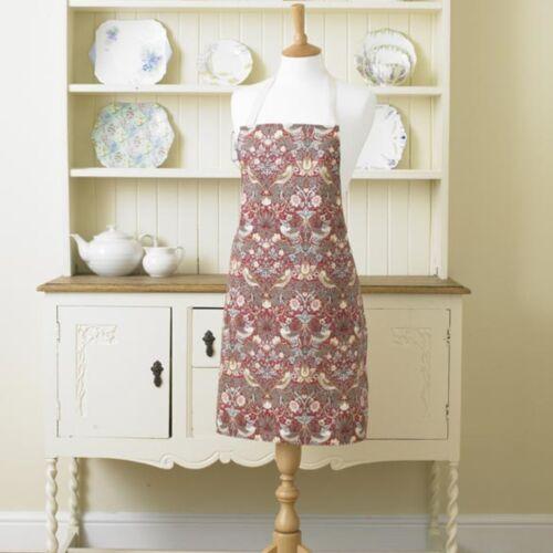William Morris Rouge Fraises Voleurs Coton Drill Floral Tablier